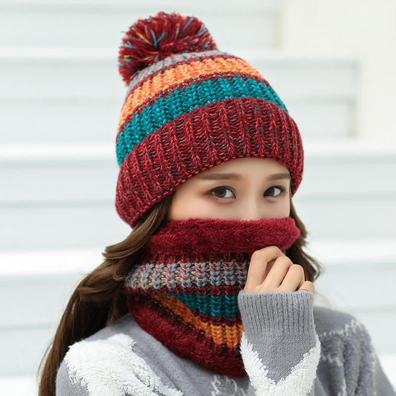 c03e0939fee 2019 HT2083 Winter Hat Scarf Set Thick Warm Knitted Hats And Scarf Big  Pompon Ball Beanies Ladies Ski Beanie Hats With Women From Oldnavy