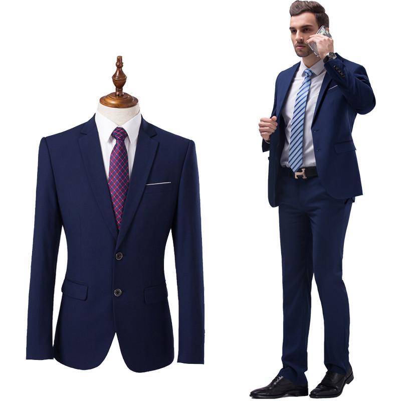 8c2578be2 (Chaquetas Pantalones) 2018 nuevos hombres Boutique de moda de color sólido  de la boda trajes formales para hombre trajes de negocios ocasionales ...