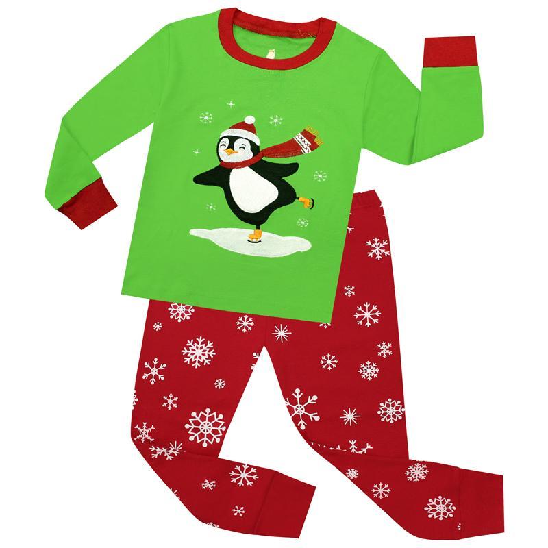 e2ced1e99 100 Cotton Baby Girls Snowflake Pajamas Boys Penguin Christmas ...