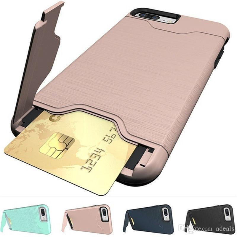 new concept dcbfe 58f3b Dual Layer Card Slot Holder Phone Case For IPhone 6 8 7 X 6S Hybrid ...