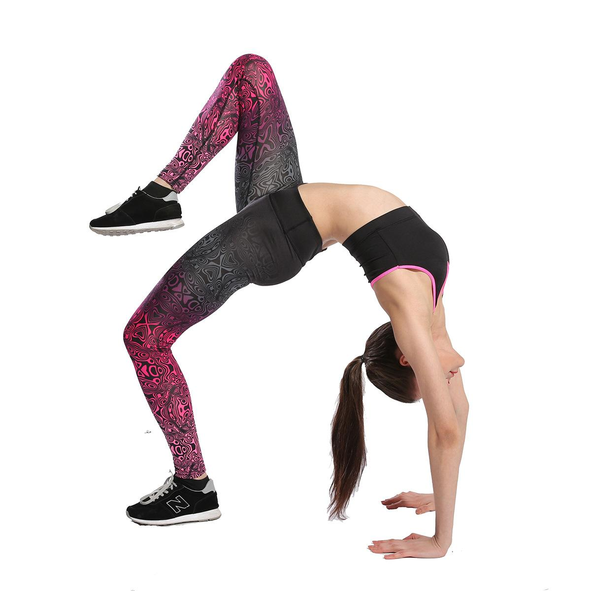 fc9dcb4fbf7c1 2019 Black And Red Gradient Yoga Workout Pants Women ' ;S Leggings Ladies  Running Pants Casual Polyester Skinny Pants From Superclotheseller, ...