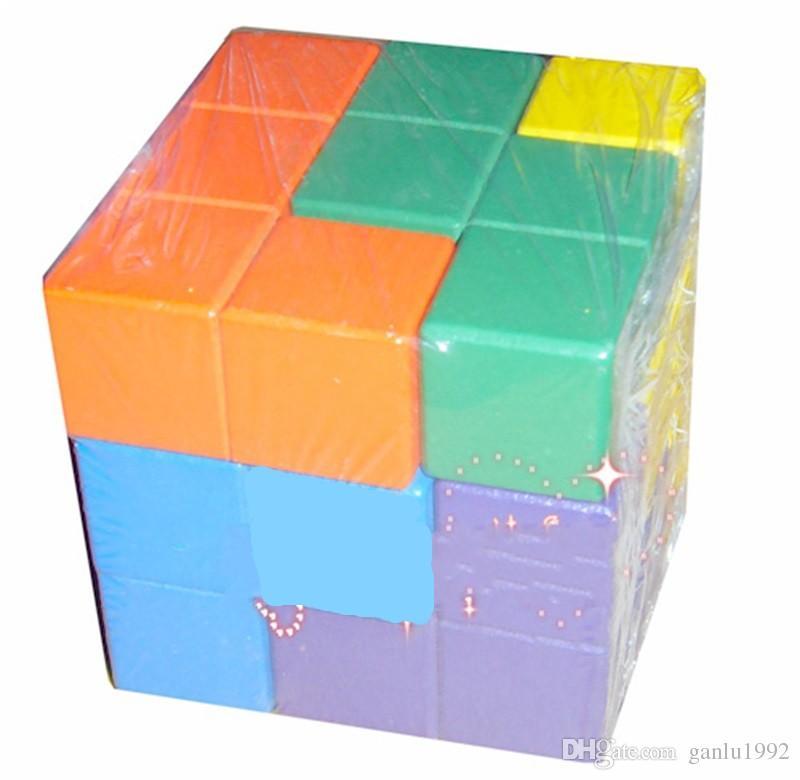 Wooden Building Blocks Toys Colour Cube Seven Grains Challenge IQ Assembling Puzzle Toy Bricks Intellectual Unlock 5 5yh W