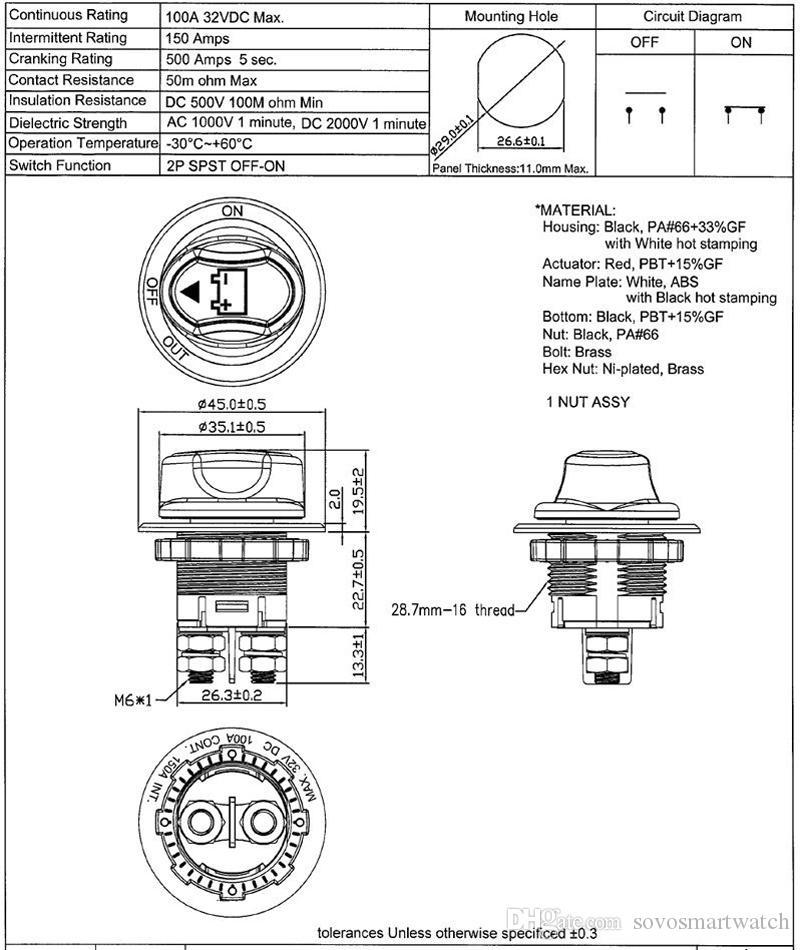 Interruptor da bateria do carro 32V DC100A Mini Car Battery Switch Selector 100A