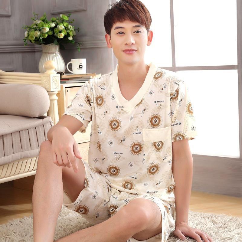 Summer New Men Short Sleeve Cotton Letter Print Pajamas Set Loose ... 39fb19aea