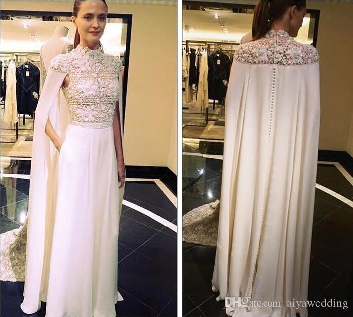 2019 Zuhair Murad Arabisch Elegante Abendkleider Mit Kap High Neck Spitze Abendkleider Bodenlangen Plus Size Kleid Für Besondere Anlässe