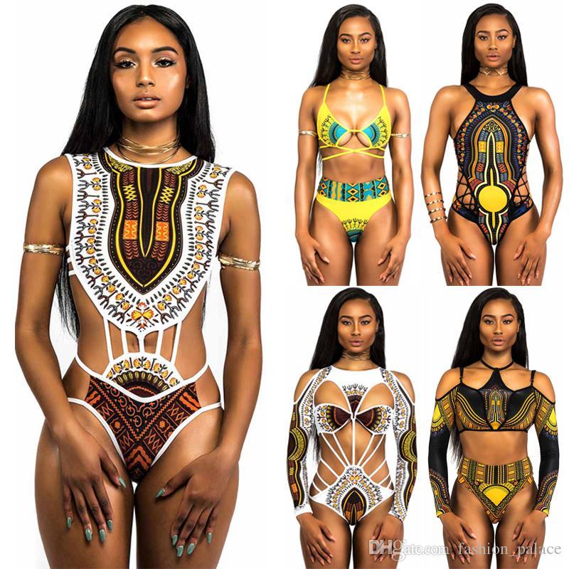 233afcd3ff162 2019 African Swimwear Totem Print Swimsuit Bikini Set Women Sexy Strappy Bandage  Bikinis Cut Out One Piece Bathing Suits XYJH0202 From Fashion palace