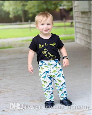 2018 ins boys suits 2PCS Kids Toddler Boy short sleeve T-shirt Tops+ dinosaur PP Pants baby wholesale clothing