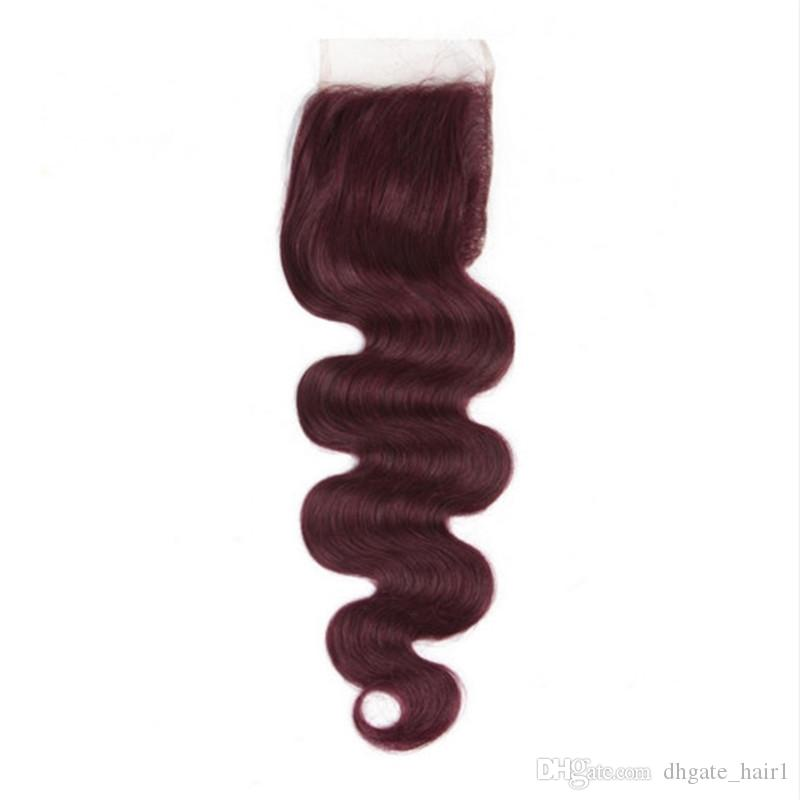 Virgin Brazilian Wine Red Human Hair 3 Bundles Deals with Closure #99J Burgundy Human Hair Weaves Extensions with 4x4 Lace Closure