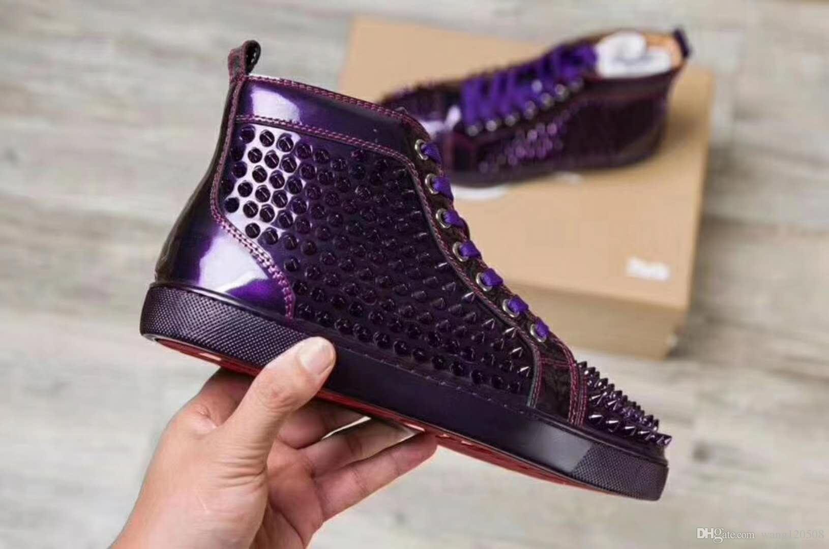 5f9d2efc52 Wholesale Fashion 2018 black glitter Men Brand Designer Red Bottoms Shoes  High Top Genuine Leather Casual Walking Flat Margiela Sneakers