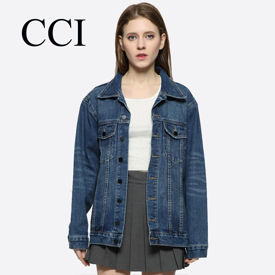 177d616a2b CCI Jackets Women Spring Basic Coat Denim Jacket BF Style Streetwear Loose Outwear  Long Sleeve Casual Top Lady Clothes CCI069 5 Cbj Black Leather Jacket ...