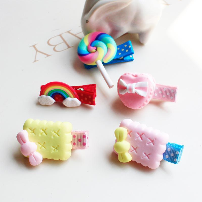 HOT NEW Cute Fashion Girls Polymer Clay Stereo Cartoon Biscuits Candy Party Birthday Hair Clips Barrettes Hair Accessories