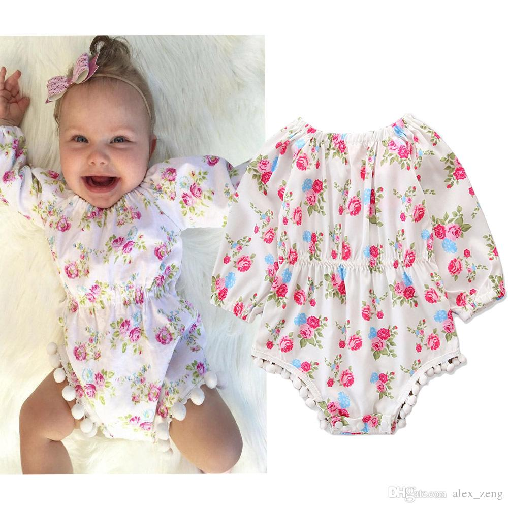 be03f6c6d9f5 2019 2018 Cute Infant INS New Baby Floral Printing Romper Toddler Girls  Long Sleeved Tassel Jumpsuits Newborn Onesies One Piece Bodysuits From  Alex zeng