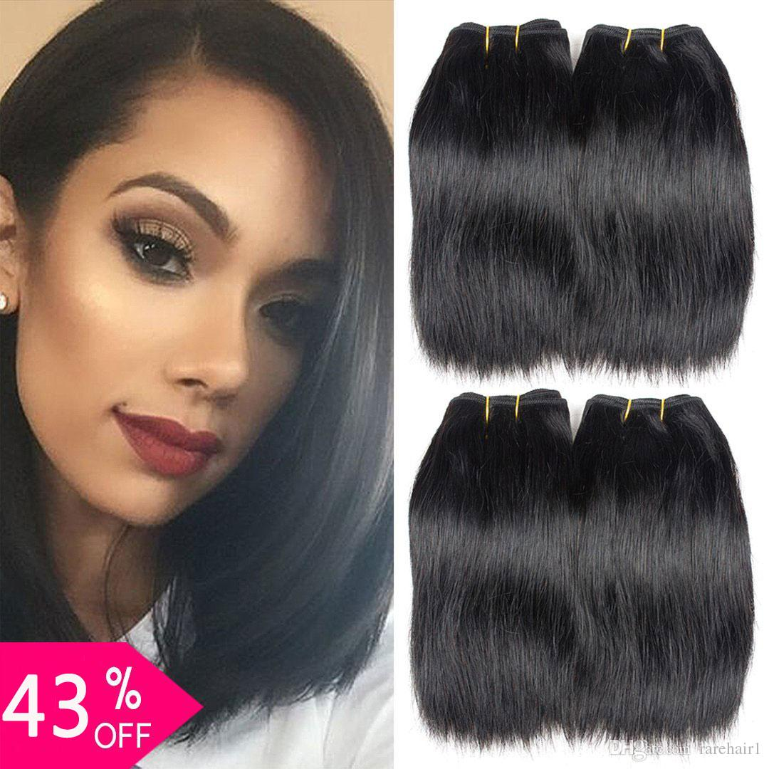 4 Bundles 8inch Brazilian Virgin Straight Hair Weaves Unprocessed Short Straight Human Hair Extensions 50G/Pcs (8'' straight 4 bundles)