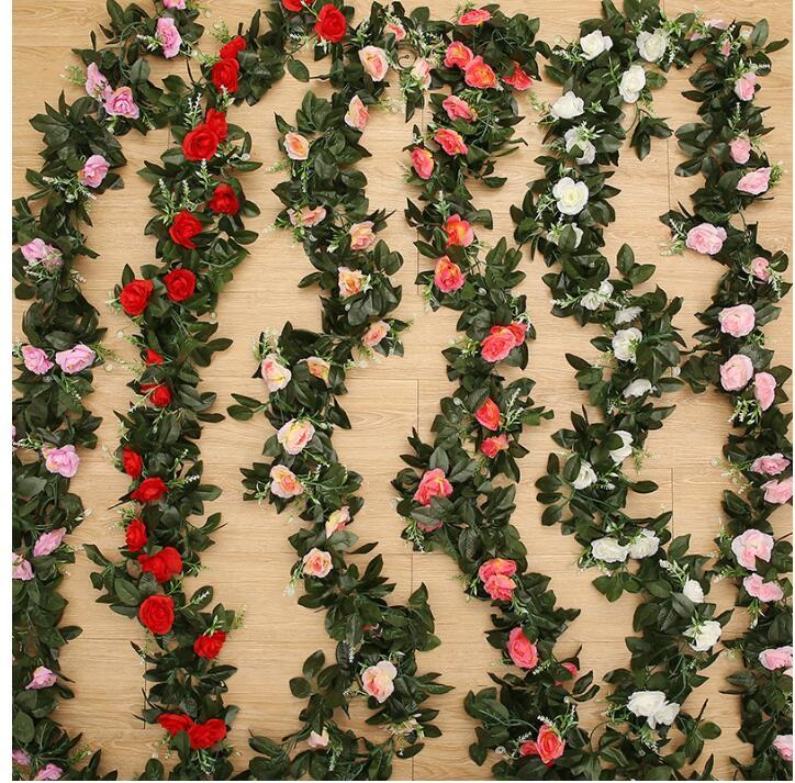 Hot 11Head fiori artificiali di seta per cerimonia di apertura di nozze Rosa rossa Champagne decorativo Rose Flower Walleded Wreaths Romantico