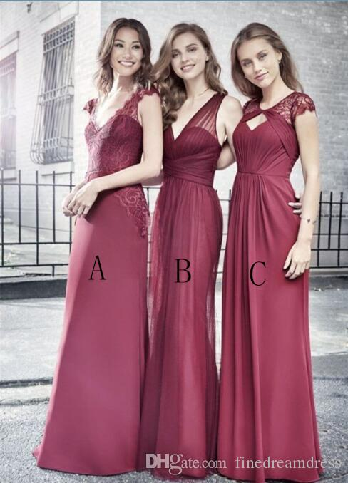 5c8fde4d9091e 2018 V Neck Chiffon Long Bridesmaid Dresses Lace Top Ruched Floor Length  Wedding Guest Maid Of Honor Dresses Dress Long Dresses For Bridesmaids From  ...