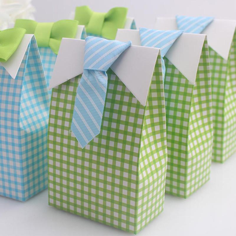 10pcs Baby Shower Boy Candy Box Wedding Favors And Gifts Lattice Paper Bags Party Supplies Birthday Favor Boxes For Guests