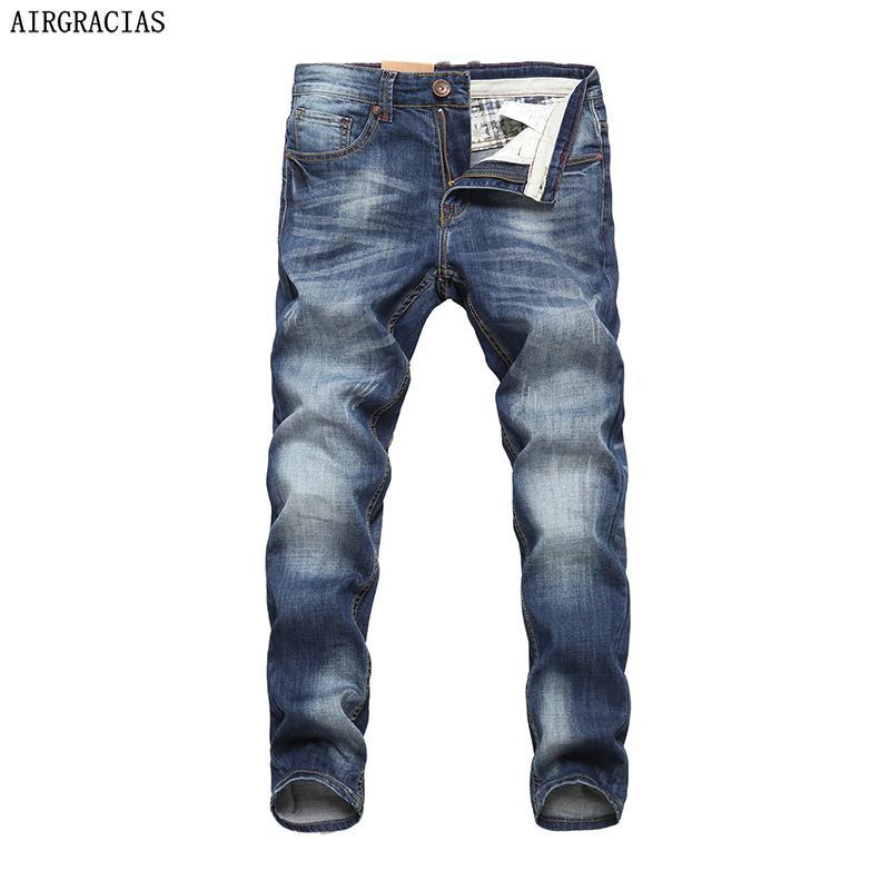 8d4489382a Compre AIRGRACIAS Hombres Jeans Design Biker Jeans Strech Jean Casual Para  Hombres Hight Quality Cotton Hombre