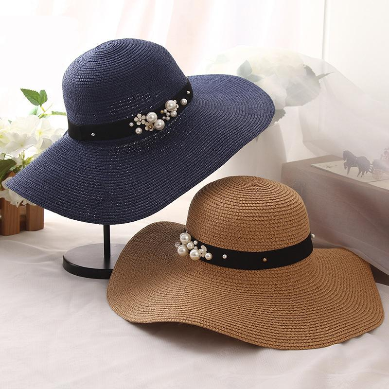 f23fe5f262a HT1163 High Quality Summer Sun Hats For Women Solid Large Brimmed Sun Hats  Black White Floppy With Pearls Ladies Beach Hat Baby Sun Hat Summer Hats  For ...