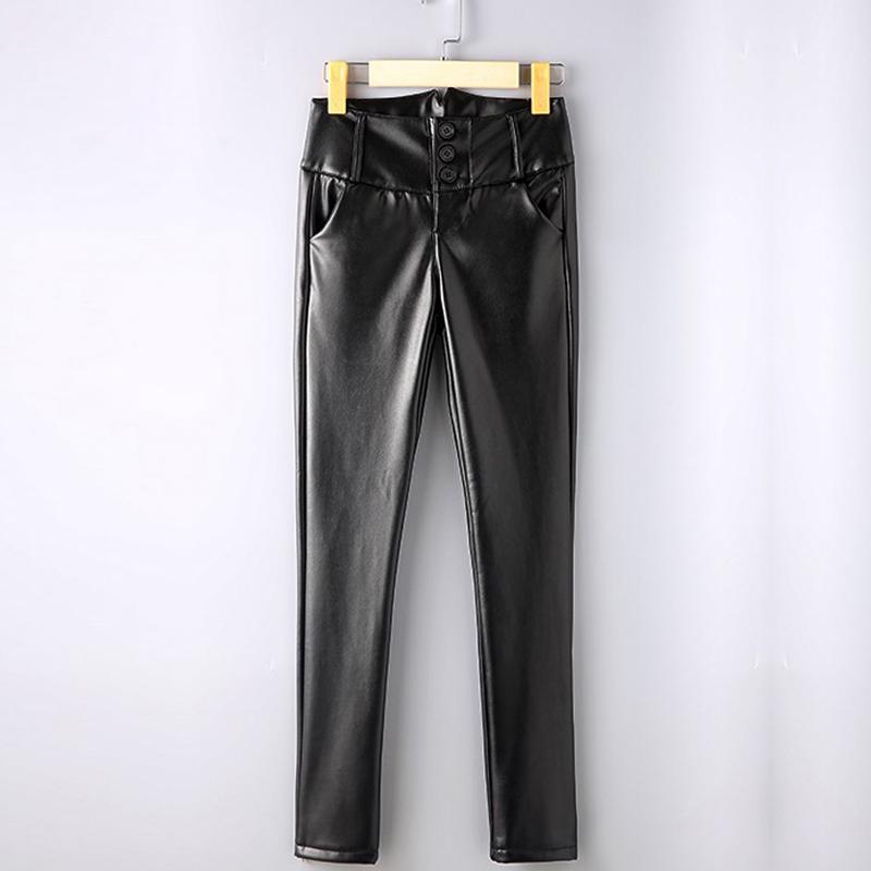 {Guoran} Женские брюки из искусственной кожи с высокой талией из эластичной кожи плюс размер 4XL черные женские леггинсы из искусственной кожи женские тонкие брюки