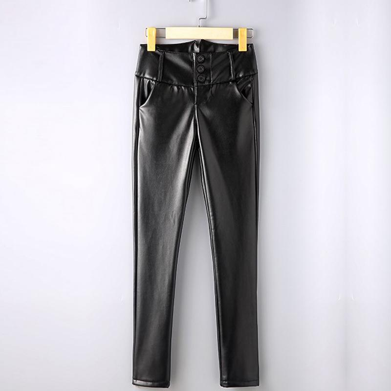 {Guoran} Lápis De Cintura Alta Mulheres PU de Couro Lápis Pant Plus Size 4XL Preto Feminino Leggings De Couro Falso Feminino Calças Finas