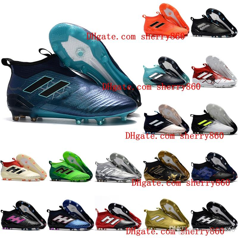 c631b9479f2 2019 2018 Ace 17 Purecontrol FG Ace 17.1 Crampons De Football Boots Mens  High Top Ankle Soccer Cleats Dragon Soccer Shoes Outdoor Chuteiras Men From  ...
