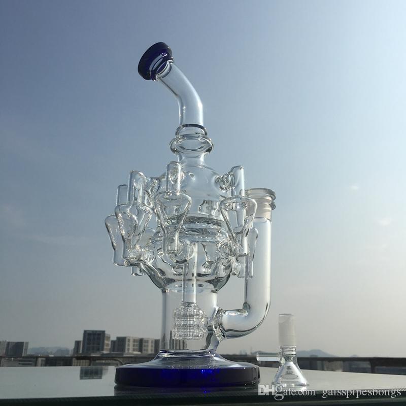 8 Recycler Bong DAB Rigs 30 cm Tall Wax Cam Balgs Kase Parça ile Matris Percolator Oil Teçhizat Cam Su Borular 14.5mm Eklem