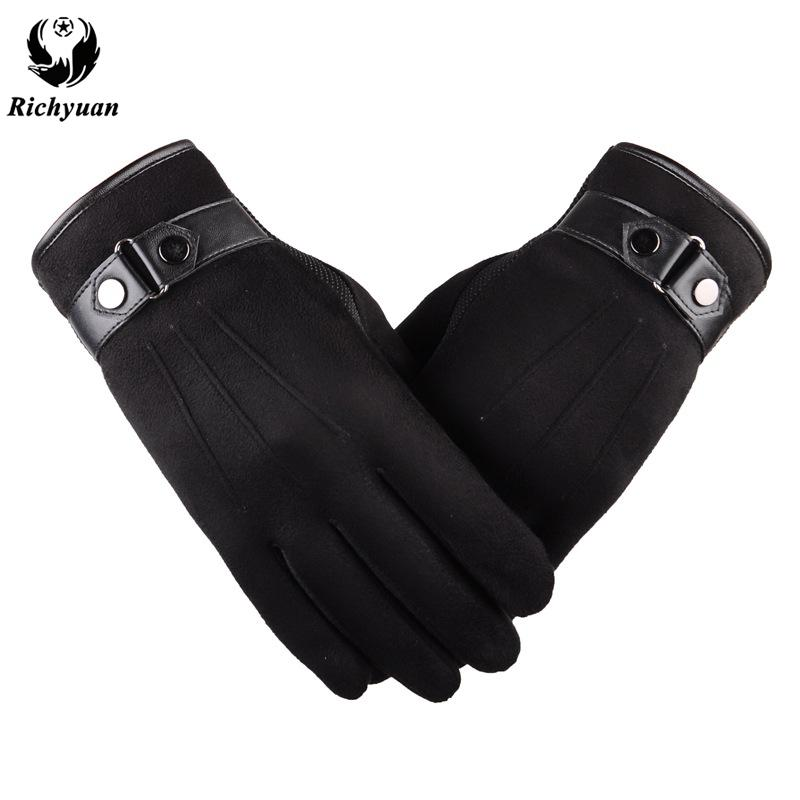 738ec47ad281 Better Warm Winter Mens Gloves Faux Suede Leather Black Leather ...