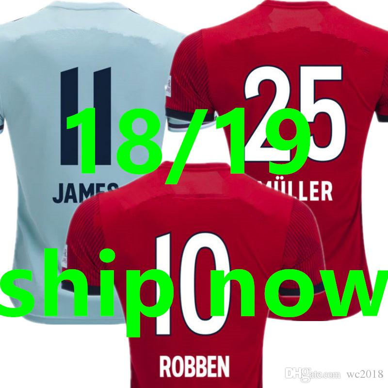 8b2a7d4c476 18 19 LAHM MULLER Soccer Jersey 2019 2018 Home Red Away Blue ROBBEN ...