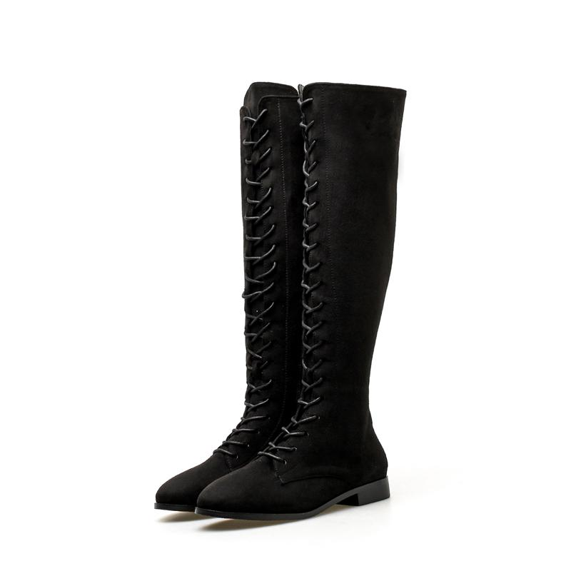 gran selección de 1e4e4 f31e5 Ocio Botas de tacón bajo Punk Mujer Negro de cuero de gamuza Botas largas  Moda con cordones Hasta la rodilla Alto Otoño Invierno Zip Shoes