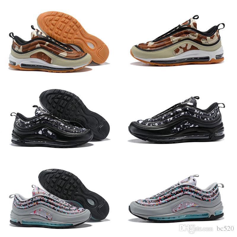buy online 96808 e493b Acheter Nike Air Max 97 Pas Cher Vente 97 ULTRA Confetti Bonbons Floral  Chaussures De Course Pour Top Qualité 97s Noir Gris Vert Hommes Femmes  Extérieur ...