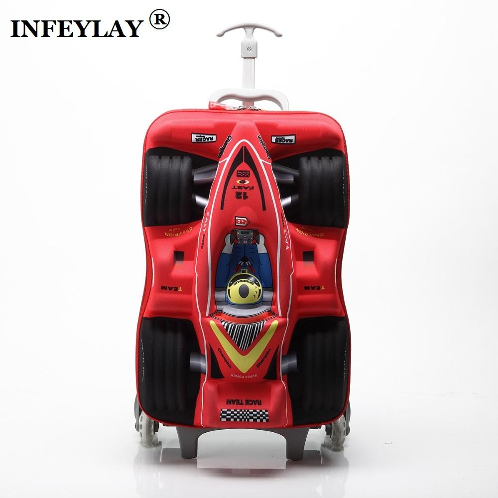c2989e2248ac HOT 16 cars 3D extrusion EVA trolley case boy kids cool Climb stairs  luggage suitcase Travel cartoon Boarding box child gift