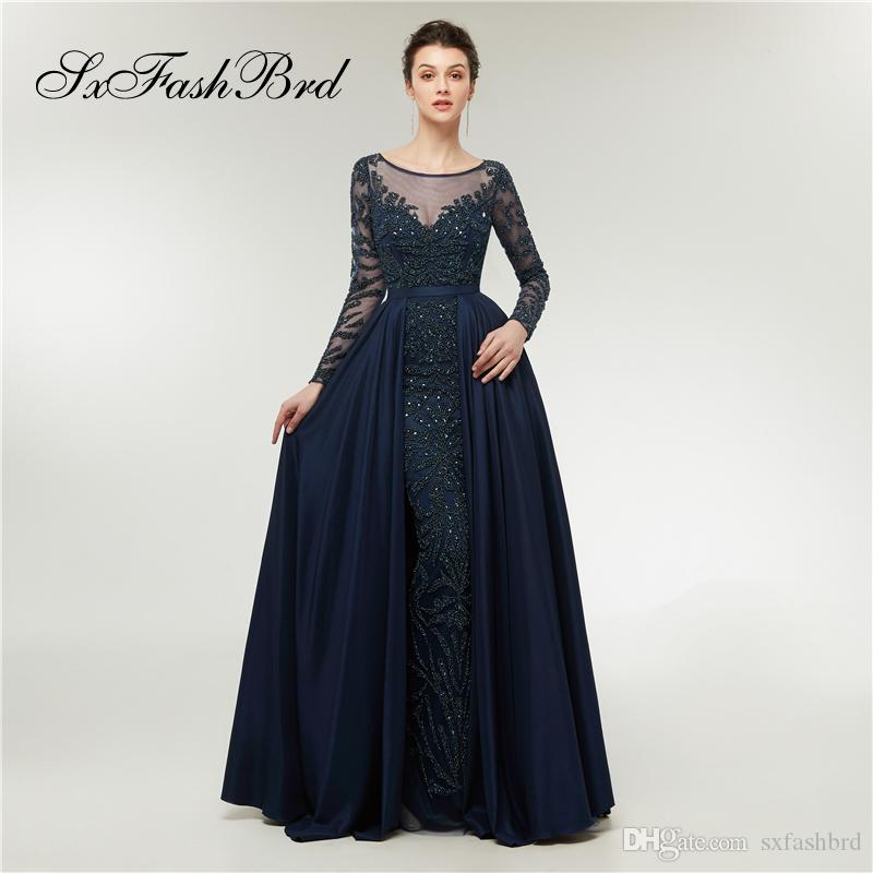 1d7e60d8dbb7 Elegant Dress O Neck Long Sleeves Mermaid Accented Beading Tulle With Train  Long Party Formal Evening Dresses For Women Prom Dress Gowns Knee Length  Evening ...