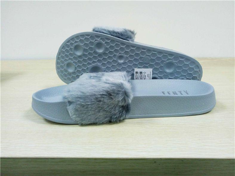 buy popular c8e89 fc2a0 2018 Leadcat Fenty M9Puma Rihanna Faux Fur Slippers Women Indoor Sandals  Girls Fashion Scuffs Pink Black White Grey Slides Best Quality