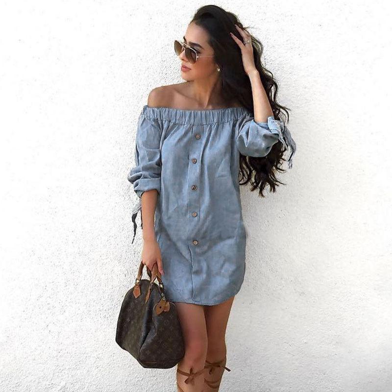 bef7352406e3 Women Dress Blue Denim Short Sleeve Casual Loose Mini Dress Off Shoulder Summer  Dress New Fashion Women Clothes Buy Women Dress Floral Dresses For Sale  From ...