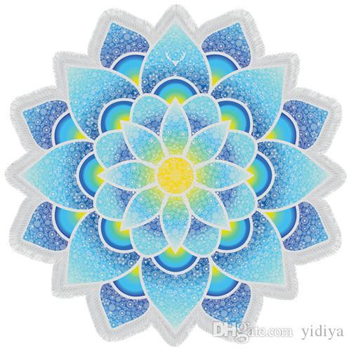 New Arrival Indian Mandala Wall Tapestry Lotus Mat Yoga Bohemian Flower Printed Shawl Tassel Sunblock Beach Towel 150cm