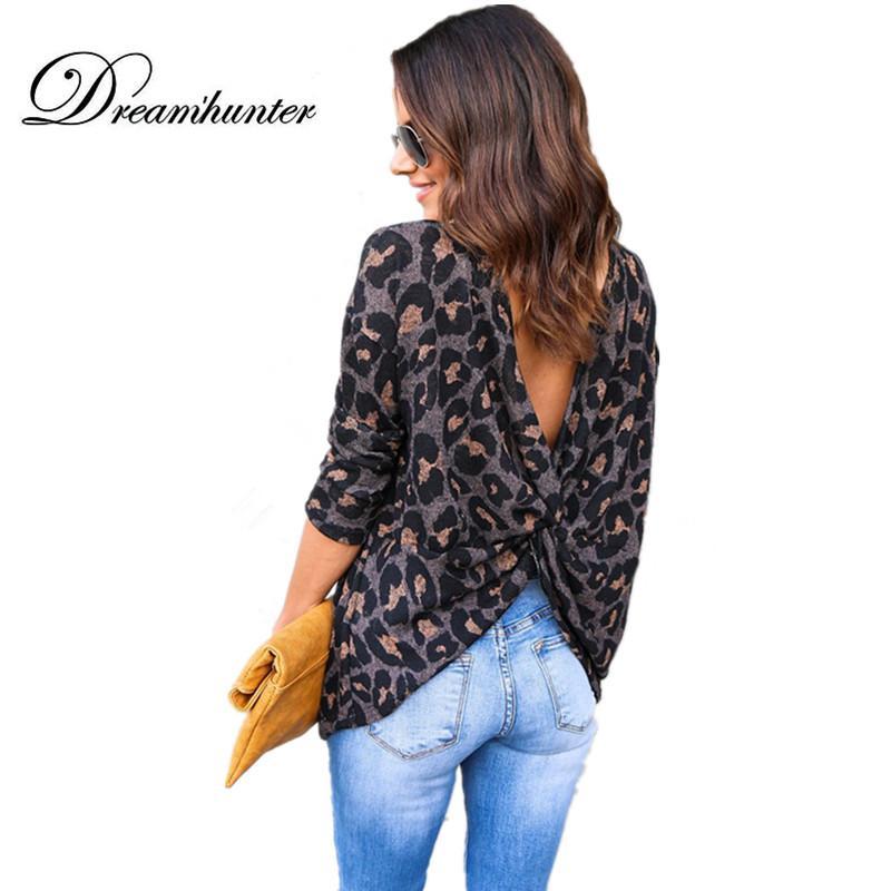 8cb5f36b7ba8aa Sexy Backless Cross Autumn Top Tee Shirts Women Casual O Neck Long Sleeve Open  Back T Shirt Leopard T Shirt Blusas XL Clever T Shirt 10 T Shirt From ...