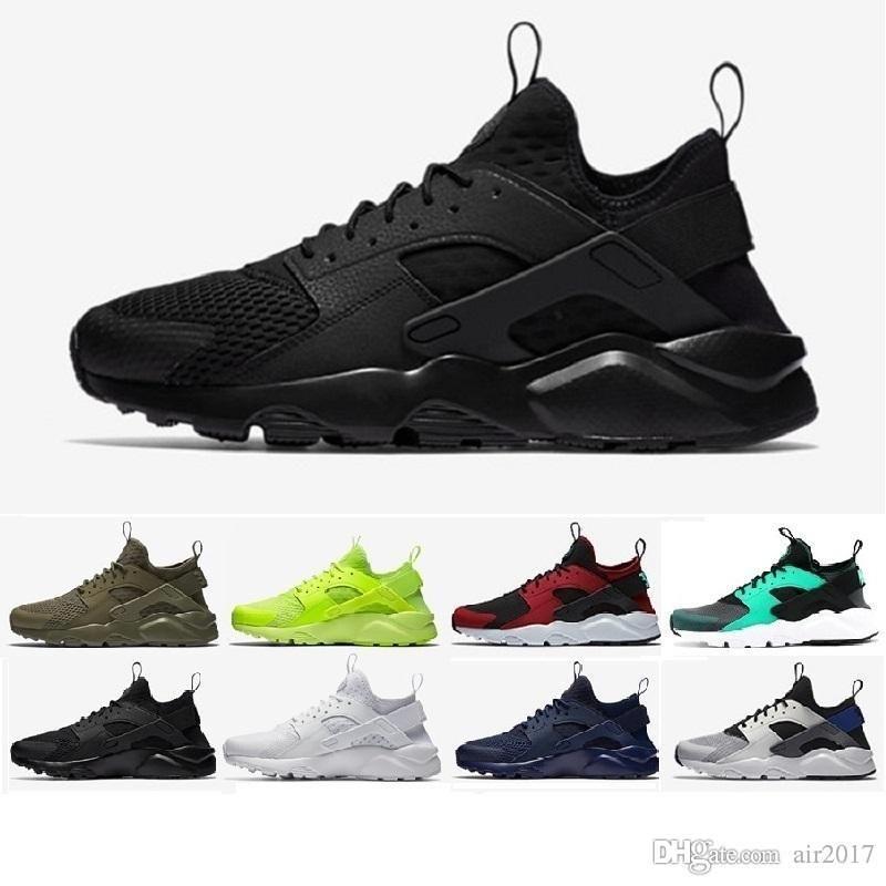 9696aa757ee8 2018 New Huarache 4 Running Shoes For Men Women All White Huraches ...