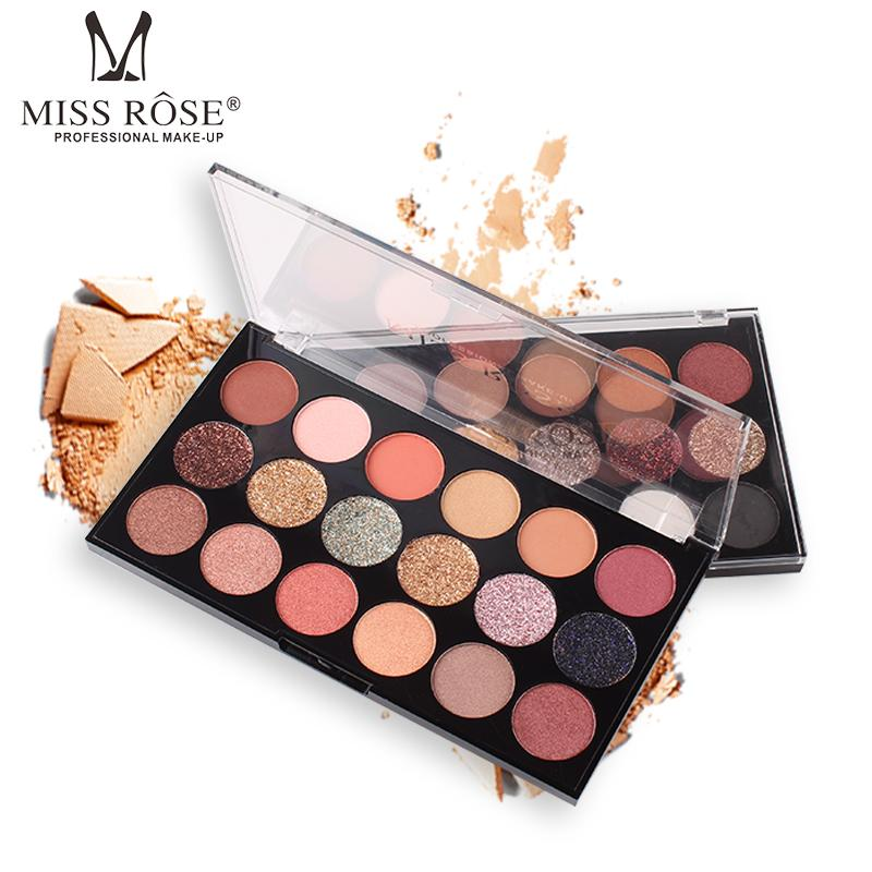 Miss Rose Eye Makeup 18 Color Metallic Glitter Eyeshadow Palette Highlighter Eye Shadow Beauty & Health