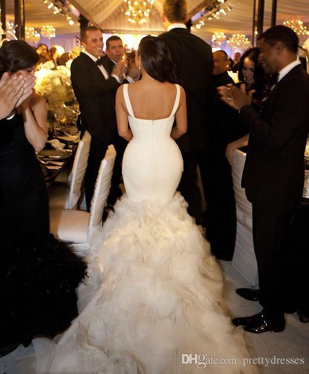 2018 Spaghetti Sexy Kim Kardashian Slim Mermaid Wedding Dresses Tiered Skirt Lace Organza Chapel Train Bridal Gown Custom