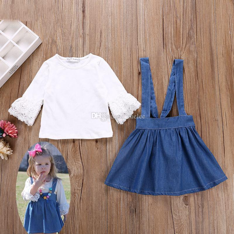 018eee3c8 Ins Spring Baby Lace Sleeve T Shirts White   Girls Denim Suspenders ...