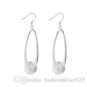 Großverkauf - - Kleinster Preis des niedrigsten Preises Weihnachtsgeschenk 925 silberne bereifte Kugel Ohrringe E049