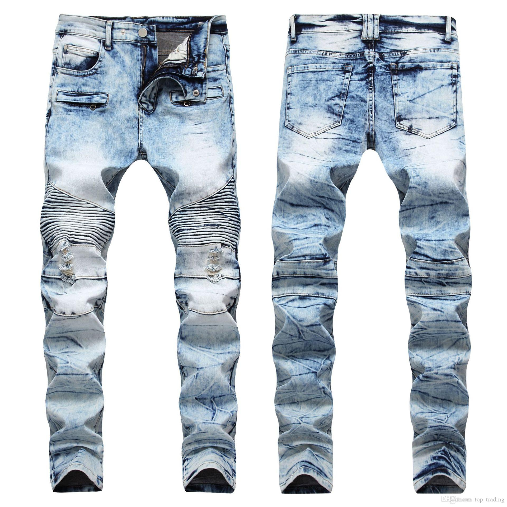 59c45b59c60ca 2019 Men Distressed Ripped Jeans Fashion Designer Skinny Slim Fit Motorcycle  Biker Jeans Causal Denim Pants Streetwear Style Mens Jeans Cool From ...