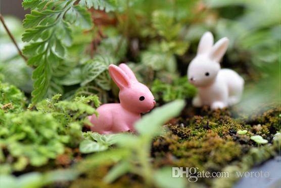 Jardim de fadas Em Miniatura coelho Branco ou Cor de rosa artificial mini coelhos decorações resina artesanato bonsai decorações Coelhinho Da Páscoa