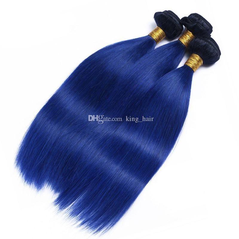 Ombre Renk 1B Mavi İnsan Saç Atkı Ile Dantel Frontal 100 Bakire İnsan Ombre Saç 3 Demetleri Ile Kulak Kulağa Frontal