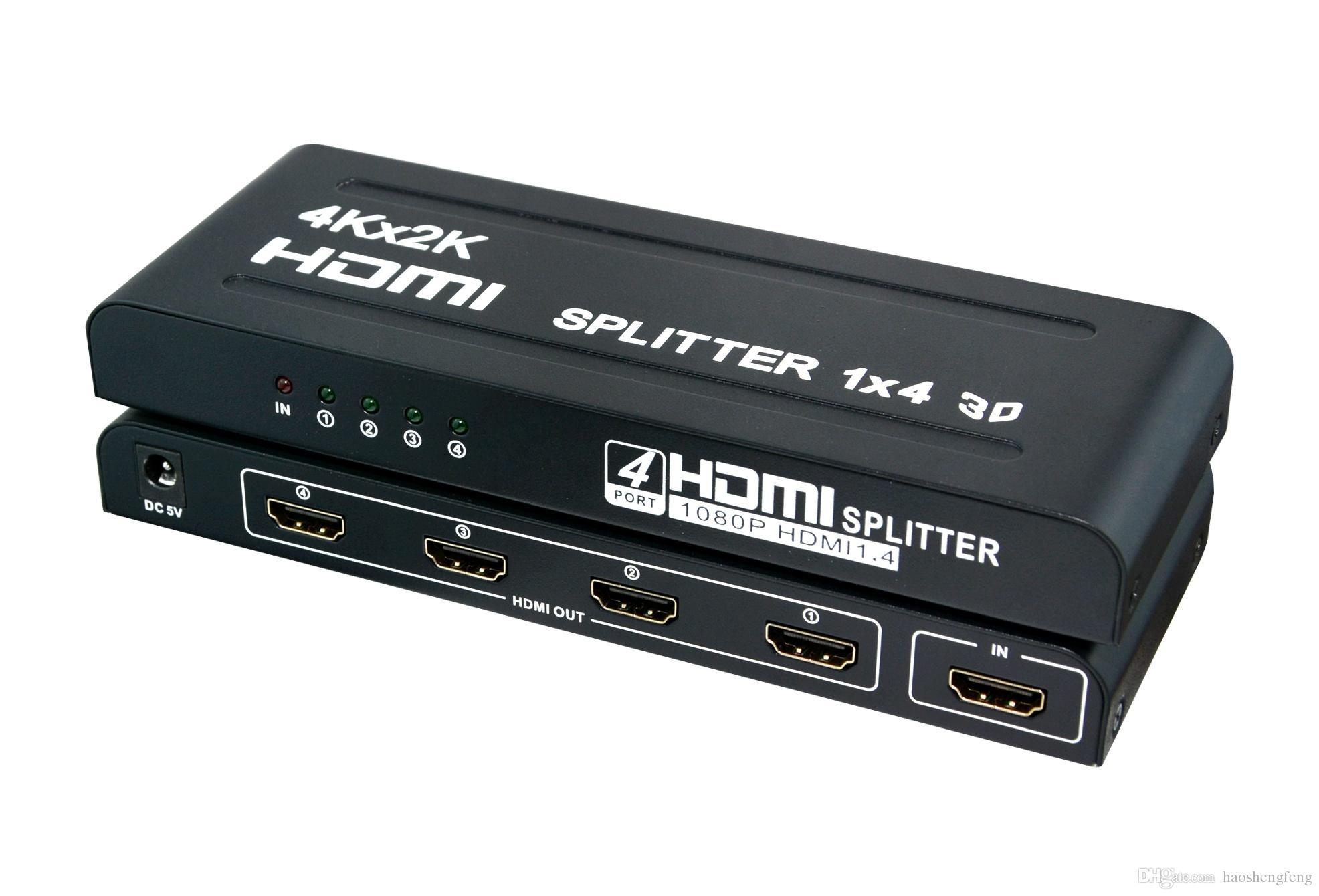 Full HD HDMI Splitter 1080p 4K 3D 1 in 4 out 1x4 Port US/EU Plug 4Kx2K