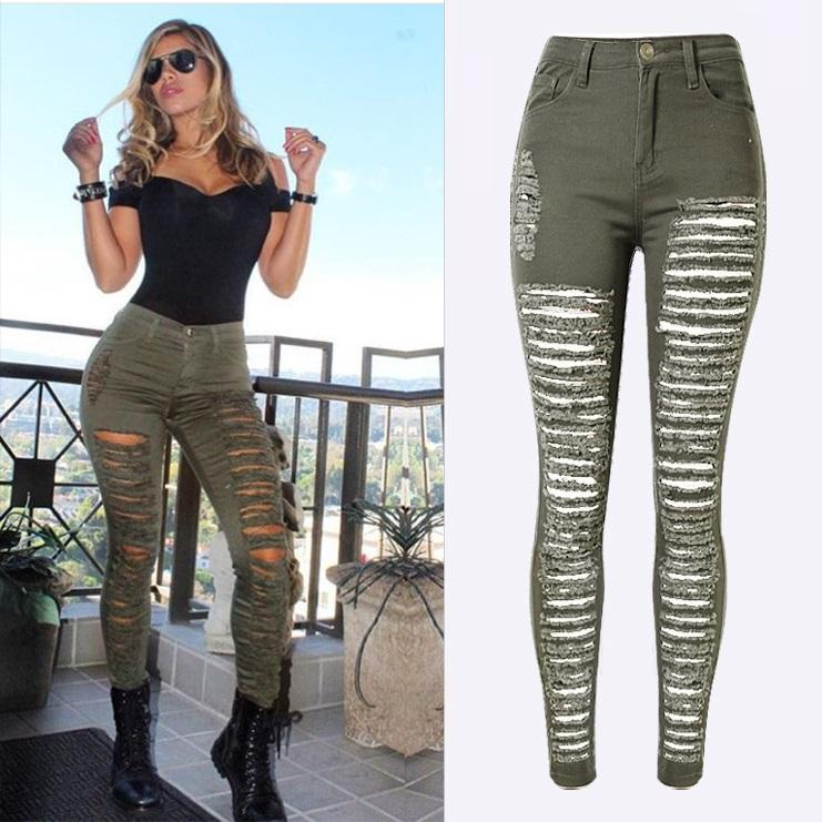8f7ebaaf11 2019 Fashion Army Green  Black  White Sexy Ripped Jeans Women Plus Size  Distressed High Waist Jeans Ladies Skinny Jean Taille Haute From Honey333