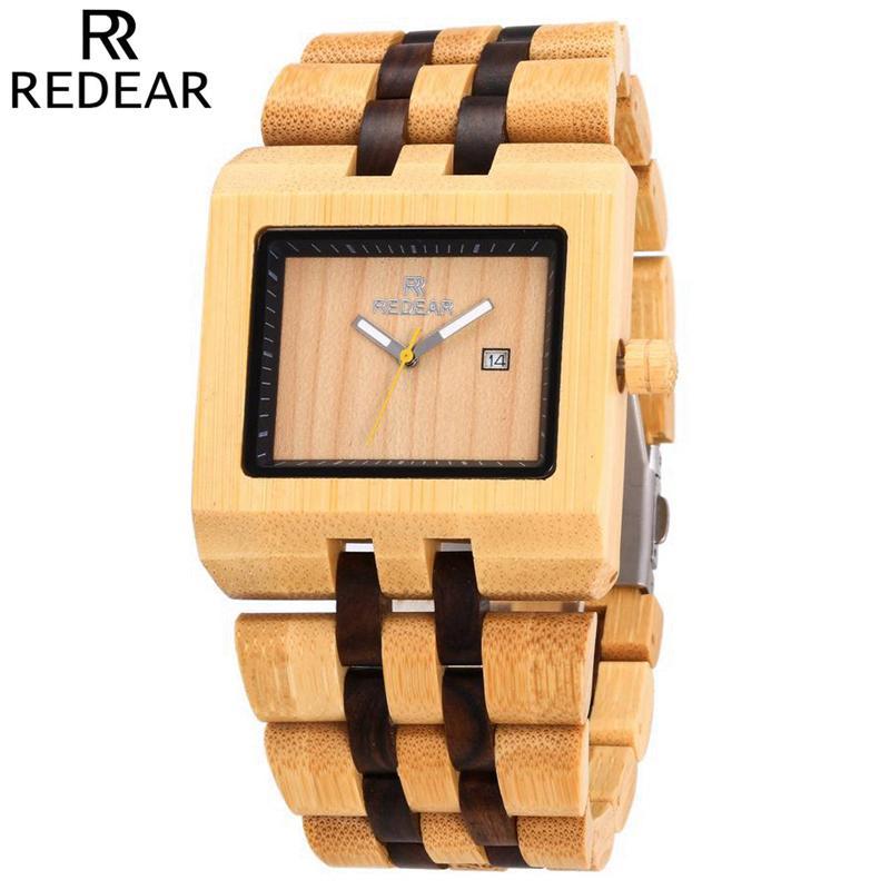 4bed8c370cd Compre REDEAR Relógio De Madeira De Bambu Dos Homens Auto Data De Quartzo Do  Vintage Casual Relógios De Madeira Homem De Negócios Relógios De Pulso  Relógio ...