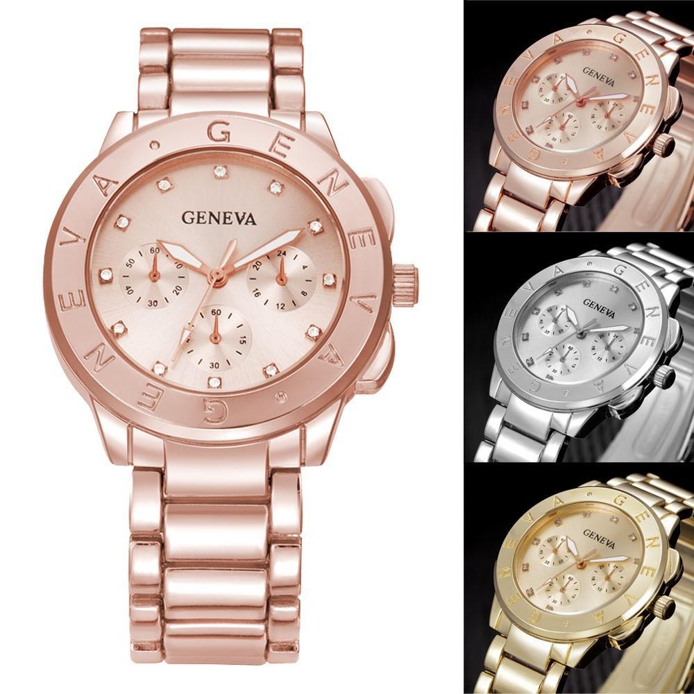 58f62db5664 Compre 2018 Top Selling Luxury Genebra Mulheres Relógio De Ouro Rosa De Aço  Inoxidável Dos Homens Marca Relógios De Pulso Relogio Feminino De  Newhappystore