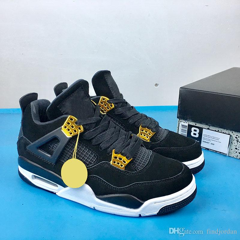 6171891a12c1d4 2018 4 Royalty Black Basketball Shoes Mens 4s Metallic Gold-White Sports Sneakers  Mens High Quality Outdoor Sports Sneakers With Box 4 Royalty Black ...