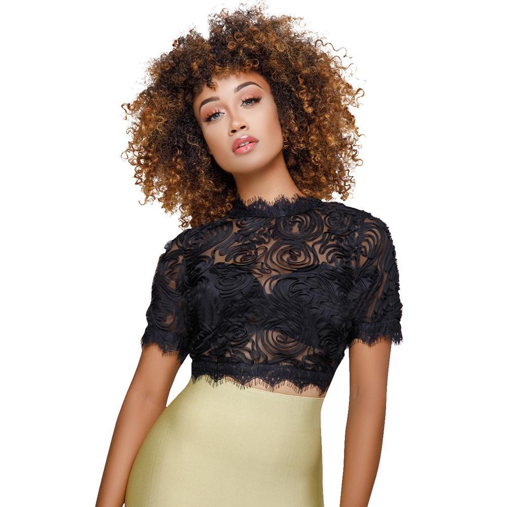 becc626132882 Women Floral Mesh Cropped Top Feminino Lace Trim Short Sleeve Casual ...